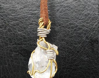 Quartz and tourmaline pendant