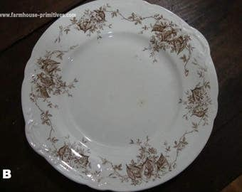 Brown Transferware Plate - B