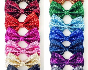 Solid Glitter Bows - NO SHED Glitter bows, glitter bow pigtails, glitter bow headband, sparkle bows, sparkle headband, glitter hair clips