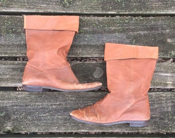 Boots - Size 7.5 Caramel Brown Leather Ankle Granny Booties Heels Fold down Slouch Boho Nine West Womens 7 1/2