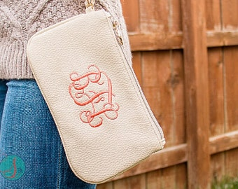Monogrammed Wristlet Wallet | Monogrammed Clutch | Faux Leather Wristlet Clutch | Bridesmaid Gifts | Gifts for Her | Waco Wristlet