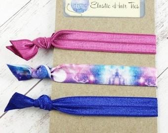 Cosmic Elastic Hair Ties - Stocking Stuffers - Yoga Hair Ties - No Crease Hair Ties - Ponytail Holder - Elastic Hair Bands - Set of 3