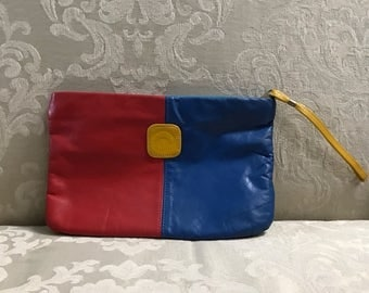 Vintage Clutch, Leather Clutch, Color Block Clutch, Leather Purse, Red Handbag, Blue Handbag, Vintage Clutches, Color Block Purse, Clutches