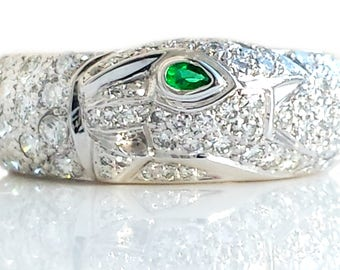 Cartier Panthere Pave Set Diamond Emerald 18k White Gold Ring Size 50