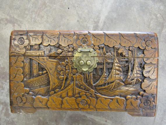 Vintage Large Carved Cedar Japanes Wood Box