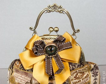 Small bar bag with removable brooch for the Steampunk Lady