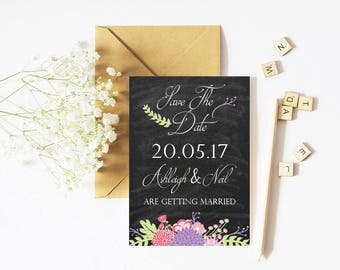 Save The Date - Chalkboard- Flowers - Personalised