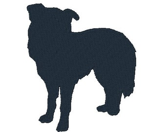 Border Collie Silhouette Embroidery Design Dog Design Embroidery Designs Dogs Instant Download 4X4 5X7 6X10 8X8 Silhouettes 6 Sizes