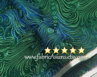 Peacock Fabric. Oriental Fabric. Feather fabric. Green brocade