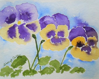 Yellow & Purple Pansies Watercolor Notecard