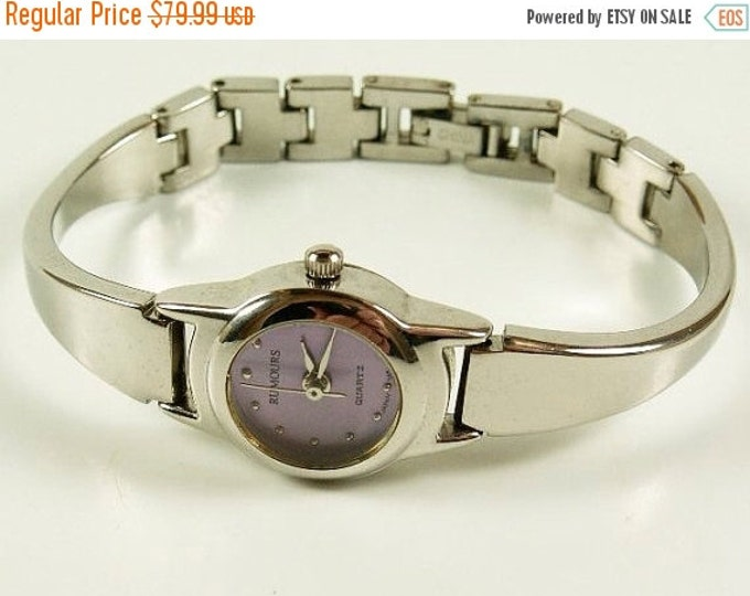 Storewide 25% Off SALE Lovely Vintage Ladies Rumour Quartz Silver Tone Watch with Pink - Purple Face & Partial Cuff Style Band