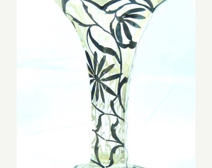 Storewide 25% Off SALE Wonderful Extremely Unique Antique Black Interwoven Floral Patterned Vase Featuring Fluted Style With Grape & Leaf De