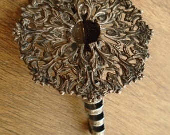 Vintage old 1920s Art Nouveau silver? buttonhole or flower/posy holder brooch wedding