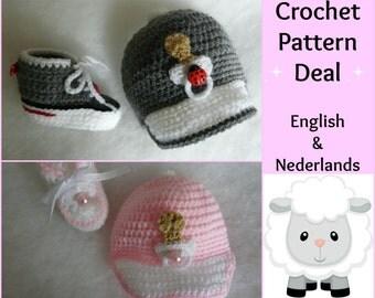 2 English + Dutch Patterns - Baby Baseball Cap + Sneakers 0 - 12  months