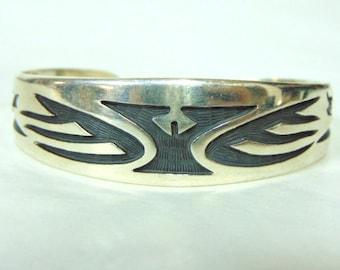 Vintage Estate Sterling Silver Southwestern Design Cuff Bracelet 33.8g E3037