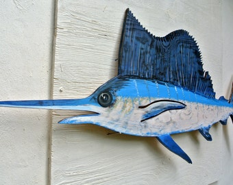 Sailfish Wooden decor. Marlin fish wall art. Fishermans Gift. Tiki Bar Wall Decor. Beach house decoration sign.