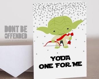 Stars Wars Inspired Personalised Yoda One For Me Anniversary Birthday Valentine's Card