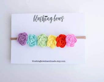 Rainbow Felt Flower Headband, felt flower crown