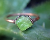 Green Garnet | Raw Garnet | Size 5.5 | Copper Ring | Ready-To-Ship