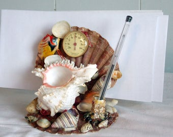 Vintage handmade Mid-Century Folk Art Sea Shell Desk Tidy and Thermometer from France