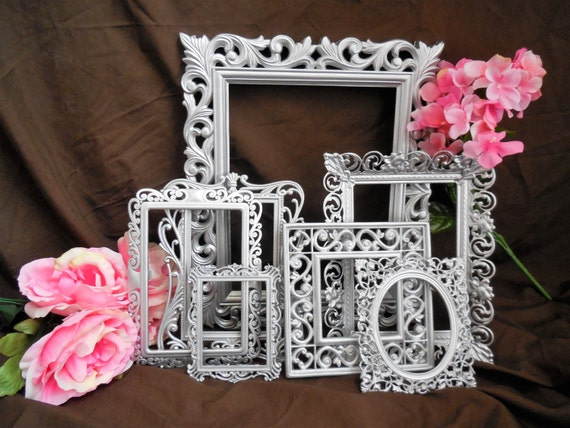 Silver Picture Frame Set, 7 Baroque Frames, Ornate Metal Filigree