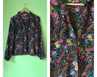 SALE Vintage Sheer Floral Blouse 1980s Black Floral Shirt Button Down Top 80s BOHO HIPSTER Oversized Shirt womens Large
