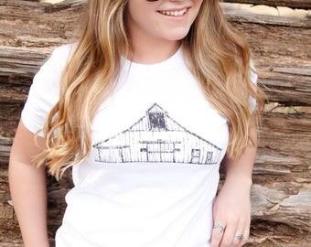 Vintage Barn Tee, Farm Girl, Country Girl, Farm Tee, Barn Tee, Country Tee, Vintage Tee, Country Girl Tee, Farm Girl Tee, White Tee