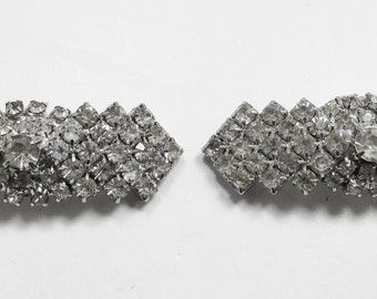 Gleaming Vintage 1950s Silver Toned Rhinestone Shoe Clips