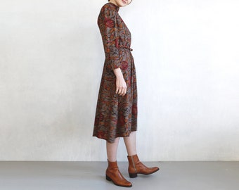 boho brown red dress with abstract floral print / victorian inspired dress with pleated turtleneck / brown and oxblood red bold print dress