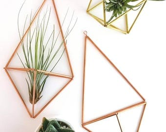 Himmeli air plant holders geometric decor in copper or brass [with or without tillandsia]