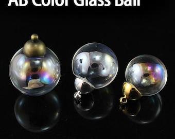 1PC 10/12/14/16/18/20/25MM Glass AB Color Ball with metal cap,Fillable Glass Globe ,Mini Glass Globes,make a wish pendant,DIY bottle pendant