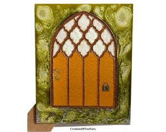 Yellow elf door Fairy door Home décor Children fantasy elves faerie elf fae pixies gnome Girls pixie portal Gift ideas Ihappywhenyouhappy 3