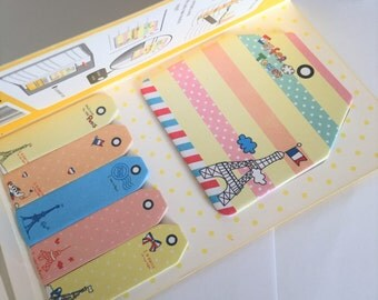 Sticky Note Set - Kawaii stationery - Paris Travel Eiffel Tower French France - Memo Pads - Planner Tabs - Memo Pad - Yellow
