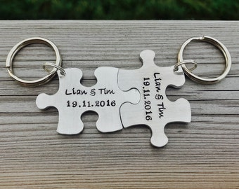 Hand stamped personalised interlocking jigsaw couple keyring keychain. His n hers, wedding gift, engagement, best friends, valentines