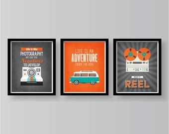 SPRING SALE - Orange Grey Teal Poster Set - Quote Poster Set - Orange Teal Grey Wall Decor - Poster set - Home art - Home decor Poster Set