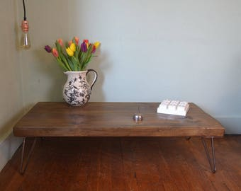 Rustic Low Industrial Coffee Table Hairpin Legs Style