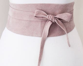 Baby Pink Suede Obi Belt | Corset Waist Belt | Suede  Obi Tie Belt | Real Suede Leather Belt| Dusty Pink Belt | Plus size belts