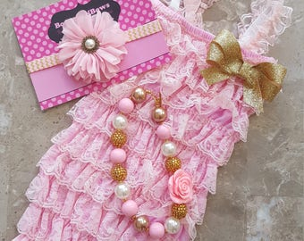 Light Pink Petti Lace Romper Headband and Necklace 3 piece set, 1st, 2nd, 3rd Birthday,flower girl,  babygirl, infant, toddler,