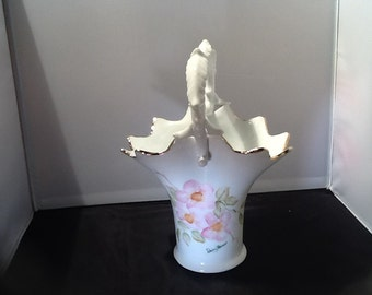 "9"" White Ceramic Vase With Pink Cherry Blossoms"