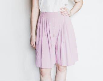 80s Pastel Pink Shorts, Vintage Skort, Vintage Shorts, Pink Midi Shorts, High Waist Shorts, Loose Shorts, Wide Leg Shorts, Knee Length