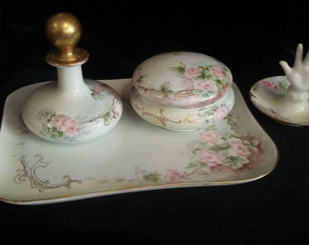 Antique Limoges France Vanity Set Dresser Set Victorian Hand Painted Pink Roses Fine China Vanity Set Artist Signed Austria China Boudoir Se