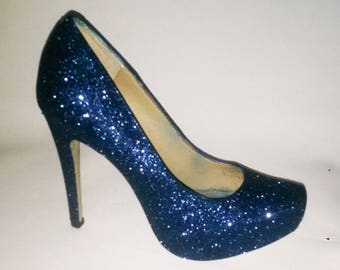 Glitter Heels Navy Blue Wedding Shoes Sparkle Sparkly