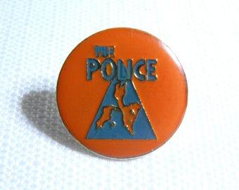 Vintage Early 80s The Police - Zenyatta Mondatta Album (1980) Orange and Blue Enamel Pin / Button / Badge