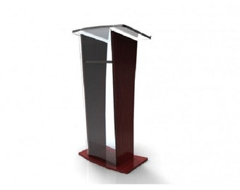 Fixture Displays® Podium, Clear Acrylic w/ wood frame Lectern Pulpit 1803-5 - Easy Assembly Required