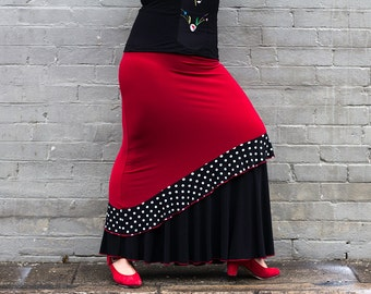 ANTONIETA Flamenco Skirt in red with black lower panel and black frill with white dots