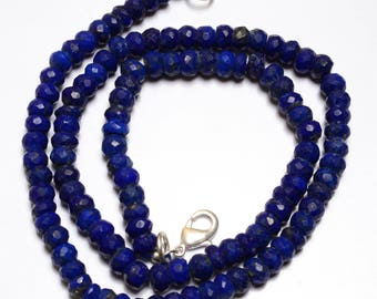 Natural Beads 16 Inch Long Strand-Super-AAA Quality, Lapis  Lazuli  Micro Faceted Rondells Beads Necklace 5.5 TO 6 MM Size