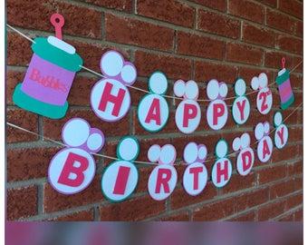 Happy Birthday bubbles banner. green , pink , Happy Birthday,