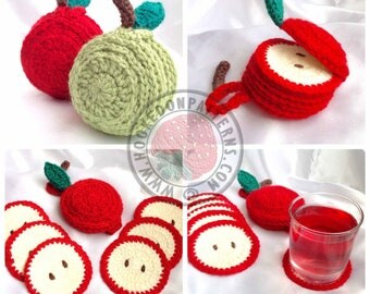 Sliced Apple Coaster Set - Crochet PDF Pattern