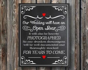 PRINTABLE Open Bar Sign-Wedding Open Bar Sign 8x10-Wedding Open Bar Chalkboard-Printable Wedding Chalkboard-Drunken Shenanigans Wedding Sign