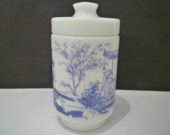 COVERED Blue & White MILKGLASS JAR. Vintage Jar. Made In Belgium. 1970's Collectible Blue And White Milkglass. Blue Room Decor.